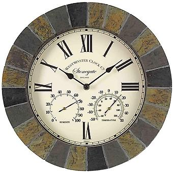 "Outdoor/Indoor Garden Wall Clock 12"" Stonegate Frame With Thermometer Gauge"