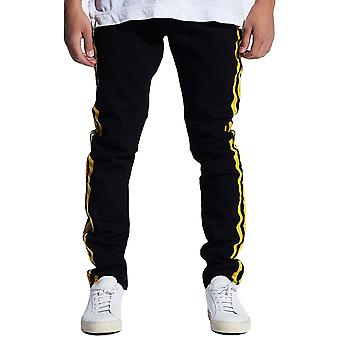 Embellish Bolt Standard Denim Jeans Black Yellow