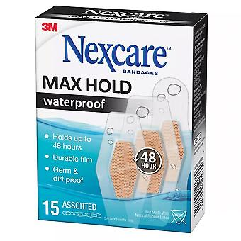 Nexcare bandages max hold waterproof bandages, assorted, 15 ea