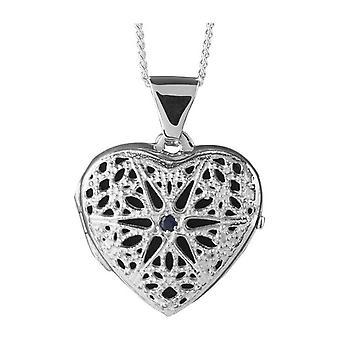 Orton oeste Sapphire conjunto medalhão coração - prata
