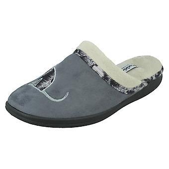 Ladies Padders Wide Fitting Mule Slippers Misty