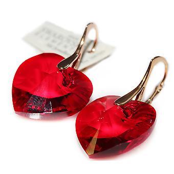 Ah! Jewellery 18mm Siam Red Heart Crystals From Swarovski Earrings