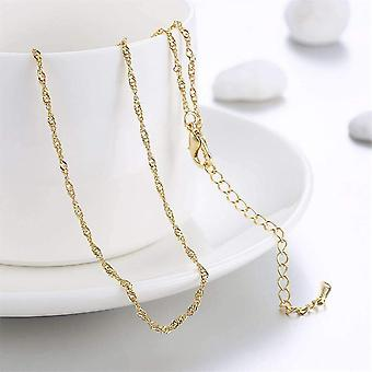 18 Inch fine singapore link chain necklace in three colors