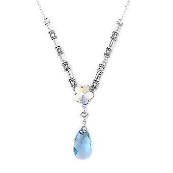 J Francis gemaakt met Blauwe Swarovski® Zirconia Crystal Ketting in Sterling Silver