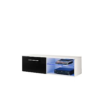 Mobile Porta TV Santiago Color Bianco, Nero Lucido in Truciolare, MDF, Vetro 120x45x37 cm