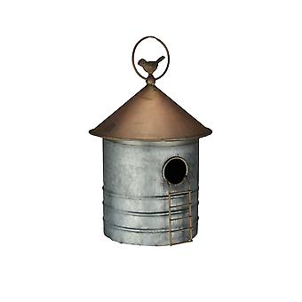 Galvanized Metal Farm Silo Hanging Birdhouse Bird House