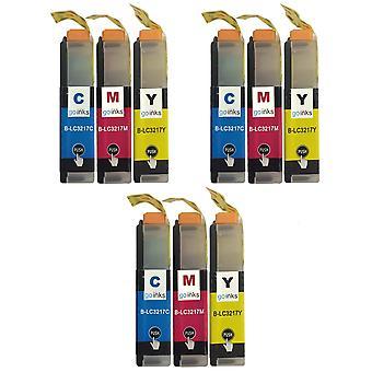 3 Set di cartucce C/M/Y per sostituire Brother LC3217 Compatibile/non OEM da Go Inks (9 inchiostri)