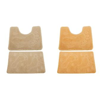 2 Piece Footprint Design Bath Mat And Pedestal Mat Set