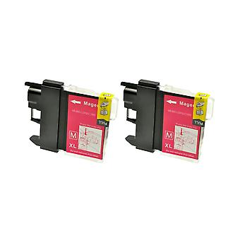 RudyTwos 2x Replacement for Brother LC-970M/1000M Ink Unit Magenta Compatible with DCP-130C, DCP-135C, DCP-150C, DCP-153C, DCP-155C, DCP-157C, DCP-260C, DCP-330C, DCP-350C, DCP-353C, DCP-357C, DCP-375