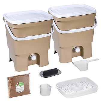 Skaza Bokashi Organko 2 keittiökompostisäiliöt kierrätettyä muovia | | 2 x 16 l | Aloittelija asettaa keittiöjätteet ja kompostointi | me sadetus 1 kg l ruskea beige