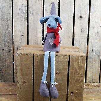 Festive Long Legged Fabric Mouse In Grey Clothing