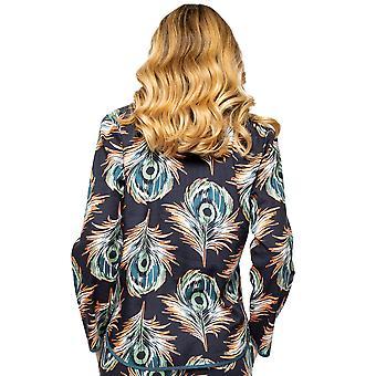 Cyberjammies Elena 4565 Kvinnor's Svart Påfågel Fjäder Print Pyjama Top
