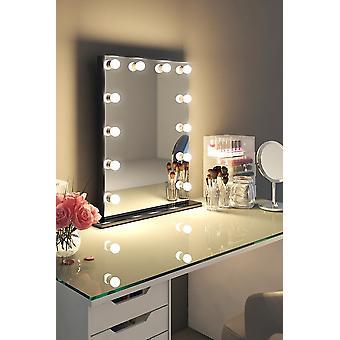 Diamante X Gloss Black Hollywood Trucco Audio Specchio LED k112Maud