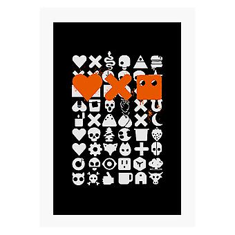 Love Death And Robots White Icons A4 Print