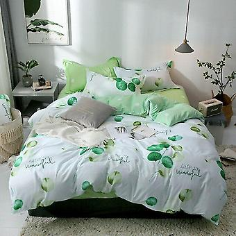 Pastoral Brief Nordic Leaf Trykt Single/double/queen King Size Bed Linen Modern Nordic Bedclothes