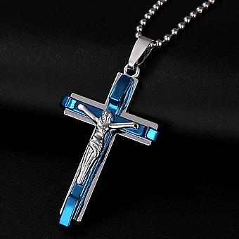 Jesus Men's Cross Necklace - Stainless Steel Jewelry, Christmas Present