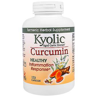 Kyolic, Extrait d'ail vieilli, Réponse inflammation, Curcumine, 150 Capsules