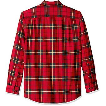 Essentials Men's Regular-Fit Long-Sleeve Plaid Flanel Shirt, Red/Yell...
