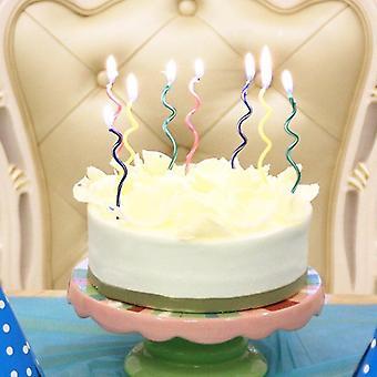 8pcs / תיק צבעוני מתעקל עוגה נר להבות בטוחות ילדים מסיבת יום הולדת - קישוט הבית צעצועי מסיבת יום הולדת (multi)