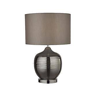 Hakuvalo - Pöytälamppu Savustettu harjanne harmaalla rumpusävyllä