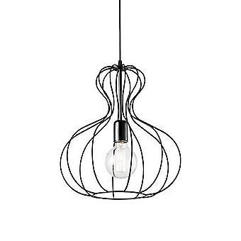 Ideal Lux Ampolla - 1 Pendente de Teto Leve Matt Black Cage Style, E27