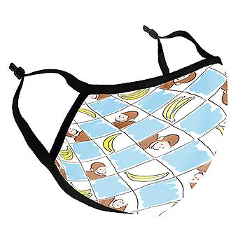 Curious George Banana Squares Pattern Adult Reusable Fabric Face Mask