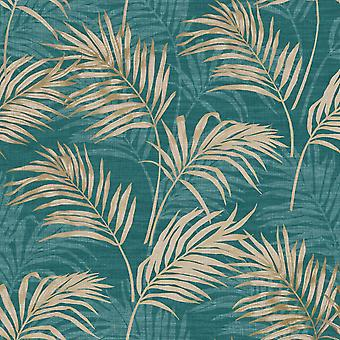 Lounge Palm Wallpaper Teal / Gold Grandeco A46105