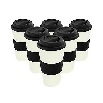 Reusable Coffee Cups - Bamboo Fibre Travel Mugs with Silicone Lid, Sleeve - 400ml (14oz) - Black - Pack of 6