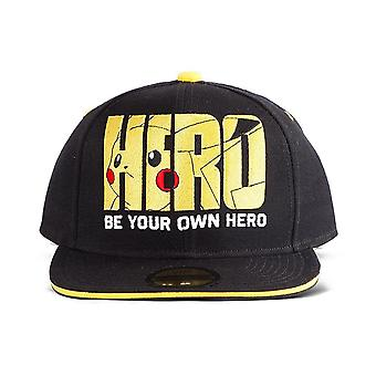Pokemon Pikachu Olympics Hero Snapback Baseball Cap Unisex - Black/Yellow