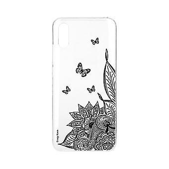 Runko Xiaomi Redmi 9a pehmeä mandala kukka ja musta perhonen