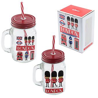 Fun Glass Drinking Jar with Straw - London Guardsman X 1 Pack