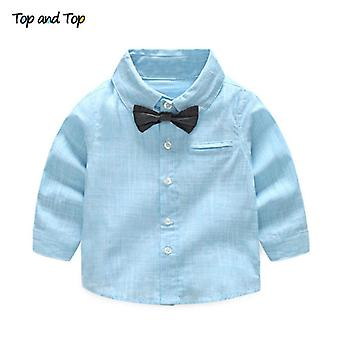 Summer Baby Shirt Formal Cotton Bow Tie Kids Blouse Striped Long Sleeve Casual