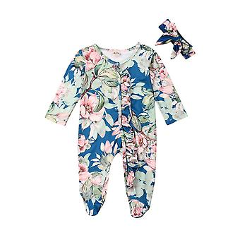 Floral Romper Jumpsuit With Headband Set