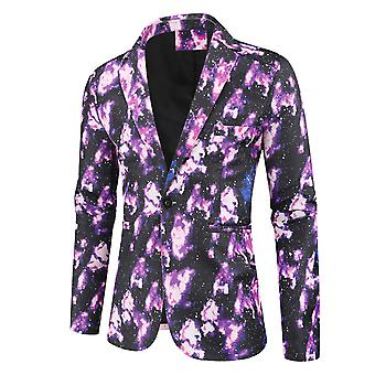 YANGFAN Mens Funky Printed Suit Jackets Slim Fit One Button Blazer