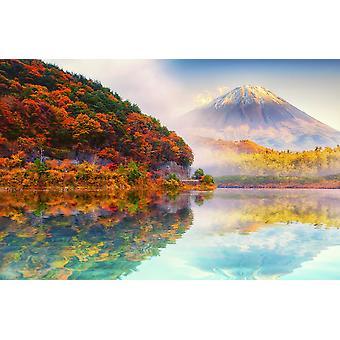 Pared Mural Fuji Mount en otoño