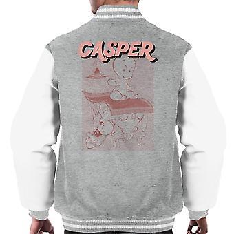 Casper The Friendly Ghost Characters On Flying Carpet Men's Varsity Jacket