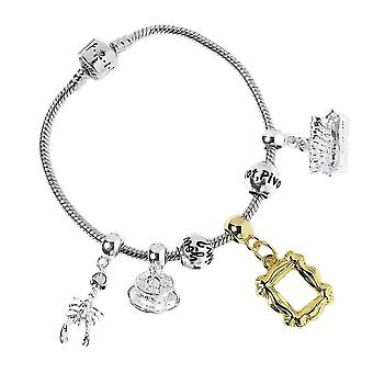 Vrienden Silver Plated Slider Charm Bracelet met charms