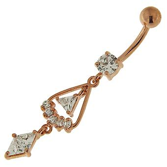 3 Micron 18K Rose Gold Plated Clear CZ Stone Multi Triangle Design Dangling Sterling Silver Belly Bars Piercing