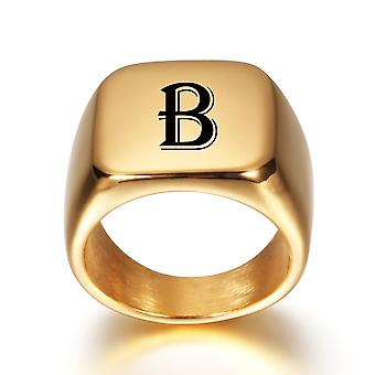 Alphabet Stainless Steel Signet Blank Plain Ring, Band High Polished Gold Tone