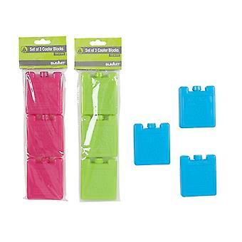 Summit Set of 3 Mini Ice Brick Pack Blocks Freezer Cooler Bag Box Travel Picnic - Pink