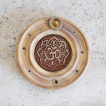Incense Holder Engraved Om In Papri Wood