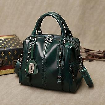 Vintage cuero genuino, cera de aceite bolsos de lujo y hombro messenger bolsa