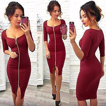 Lossky Mujeres Sexy Club Low Cut Bodycon Vestido Rojo Terciopelo Vaina Borgoña Moda