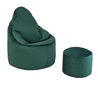 Forest Green Velvet Highback Bean Bag Chair Set Indoor Gaming Beanbag Lounger Gamer Seat with Footstool