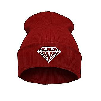 Warm Winter Hats, Men Diamond Knitted Beanie Hip Hop Wool Caps