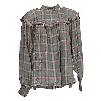 Peace Love World Women's Top Plaid Blouse W/ Smocking Details Gray A310800