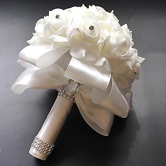 Satin Romantic Wedding Bouquet, Bridesmaid Wedding Decoration Foam Flowers Rose