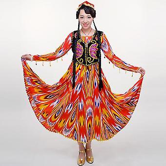 Vrouwen nationale kostuum dans performance jurk, lange rok aidiles zijde