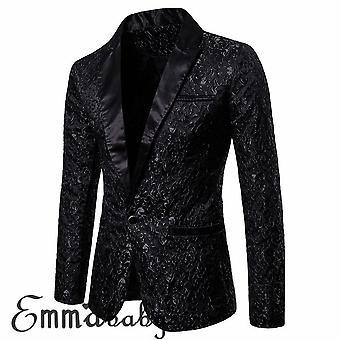 Men Luxury Slim Fit Formal One Button Suit Blazer Business Coat Jacket
