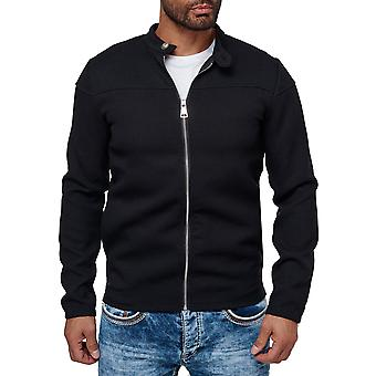 Men Sweatjacket Slim Fit Elegant Casual Design Collar Details Zipper